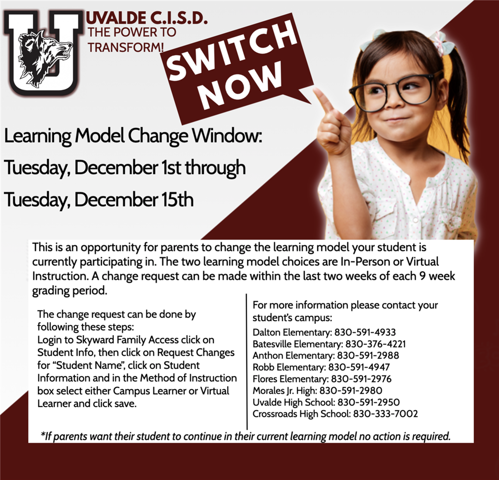UCISD Learning Model Switch: Dec. 1st-15th