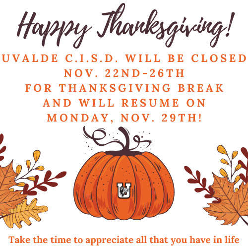 Thanksgiving Break...November 25th-29th!