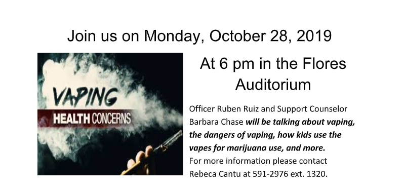 Vaping Health Concerns...October 28th!