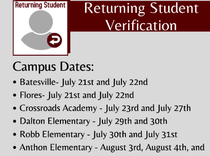 Returning Student Online Verification Begins July 21st!